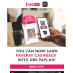 $0.50 DBS PayLah! Cashback ($5 Min Spend) with FavePay Payments