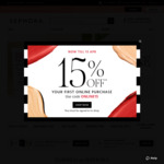 15% off First Online Purchase at Sephora