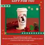 Free Special Edition Christmas Reusable Cup with $10 Min Spend at Starbucks (Members)