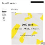 30% off Sale Items at Le Petit Society Plus Free Shipping if over HKD$600