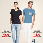 Short Sleeve Crew Neck T-Shirts: Supima Cotton for $12.90 (U.P. $14.90) and Washed Slub for $14.90 (U.P. $19.90) at UNIQLO