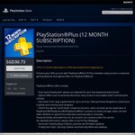 PlayStation Plus 12 Month Membership/ Subscription for $30.73 (30% off)