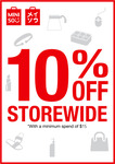 10% off Storewide ($15 Minimum Spend) at Miniso [Selected Stores]