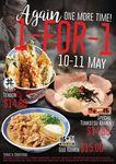 1 for 1 Don Meijin's Tendon, Ikkyu's Tonkotsu Ramen, & Buta God's God Ramen at Ramen Champion Bugis+ on 10/11 May