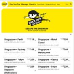 Singapore to Bangkok $45, Guangzhou $79, Jaipur/Kaohsiung/Chennai/Amritsar $99, Perth $119, Sydney/Melbourne $169 via Scoot