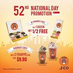 J.CO Donuts & Coffee National Day Offers - Buy 1 Dozen Get 1/2 Free (8th to 9th August) and 2 Frappe Due for $9.90 (9th August)