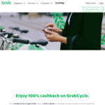 Unlimited GrabCycle (oBike, GBikes, Anywheel & Popscoot) Rides for 7 Days for $1 (Usually $5) + 100% Cashback on All Rides