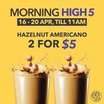 2x Hazelnut Americano for $5 at The Coffee Bean & Tea Leaf (Monday 16th to Friday 20th April, Until 11am Daily)