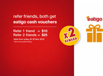 Refer 2 Friends and Receive SGD25 Worth of Eatigo Cash Vouchers for a Limited Time till 30th November