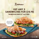 2 Sandwiches for $10.90 at Delifrance