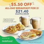 $5.50 off All Day Breakfast Set for 2 ($21.40) at The Coffee Bean & Tea Leaf Singapore via GrabFood