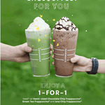 1 for 1 Venti-Sized Chocolate Chip/Green Tea/Java Chip Frappuccino at Starbucks (Members)