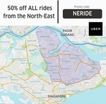 50% off All Uber Rides from North East Singapore (Friday 28th July to Thursday 3rd August, 6am to 11.59pm Daily)