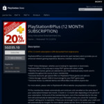 PlayStation Plus 12 Month Membership for $35.10 (20% off)