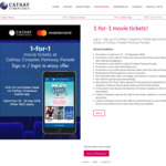 1 for 1 Movie Tickets via App at Cathay Cineplexes (Parkway Parade) [Mastercard]
