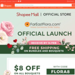$8 off All Bouquets at Far East Flora via Shopee