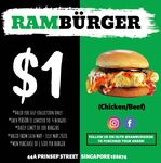 $1 Chicken/Beef Burger with Side Purchase at Ramburger (Instagram/Facebook Required)