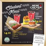 $4.90 Student Meals at NeNe Chicken - 1pc Chicken with Rice or Mini Bap Burger Meal (Weekdays, 2pm to 5pm)