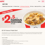 KFC Famous Potato Bowl for $2.50 (UP. $4.30)