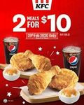 2x 2 Set Piece Meal for $10 at KFC