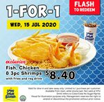 Long John Silver's Wednesday 1-for-1 Promotion: Chicken, 3pc Shrimps, Fries & Regular Drink for $8.40