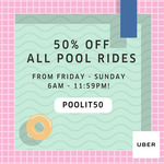 50% off uberPOOL Rides with Uber (Friday 18th to Sunday 21st August, 6am to 11.59pm Daily)