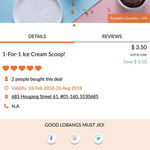 1 for 1 Ice Cream Scoops ($3.50) from The Naughty Corner Gelato House via Lobang King Club App