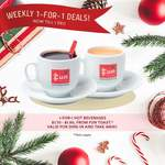 1 for 1 Hot Beverages ($1.70-$1.90) at Fun Toast [Parkway Parade]