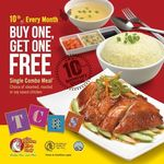 Buy One Get One Free on Any Single Combo Meal at The Chicken Rice Shop