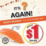 Sushi at $1 Per Box Every Monday in April at umisushi