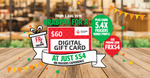 $54 for $60 Frasers Experience Digital Gift Card via App via GrabPay [Usable on Selected Daiso, FairPrice, Watson's + more]
