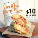2x Egg Mayo Chia Seed Wrap & Small Cafe Latte Sets for $10 (U.P. $5.80/Set) at The Coffee Bean & Tea Leaf [Weekdays, Until 11am]