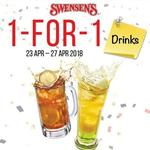 1 for 1 Drinks at Swensen's via App (Monday 23rd to Friday 27th April)