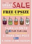 Free Upsize on $3 Cold Drinks at Tuk Tuk Cha (Facebook Like and Share Required)