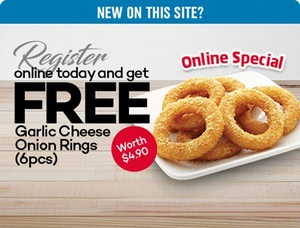 Free Garlic Onion Rings (6pcs) When You Sign Up to Domino's Pizza