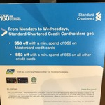 Standard Chartered Starbucks Monday to Wednesday Promo: $3 off $6 Spend with MasterCard, $2 off $6 with Rest