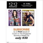 12 Print Issues of CLEO or The Singapore Women's Weekly for $30 (U.P. $50.40)