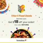 honestbee Food - 1 for 1 From Selected Restaurants and $18 off Min $25 Spend for New Users With Code