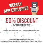 Spend $50 and Receive 50% off on Return Visit at Swensen's via Mobile App (Monday 7th to Sunday 13th August)