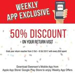 Spend $50 and Receive 50% off on Return Visit at Swensen's via Mobile App (Monday 2nd to Sunday 8th October)