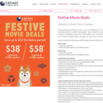 3 Movie + 2 F&B Vouchers for $38 or 5 Movie + 3 F&B Vouchers for $58 at Cathay Cineplexes