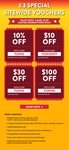 10% off ($12 Min Spend), $10 off ($100 Min Spend), $30 off ($280 Min Spend), $100 off ($100 Min Spend) Sitewide at Shopee