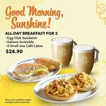 Egg Club Sandwich, Salmon Scramble and 2 Small Size Cafe Lattes at $24.90 from Coffee Bean