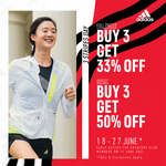 Buy 3 Get 33% off (Full Priced Items) or Buy 3 Get 50% off (Outlet Items) at adidas
