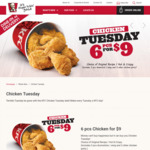 KFC 6 Pieces of Chicken (Original or Hot & Spicy) for $9 on Tuesdays Dine in or Delivery