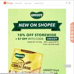 10% off Storewide + $7 off with Promo Code (Min. $15 Spend) at Unisoy via Shopee