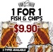 1 for 1 Fish & Chips (3 Flavours) $9.90 Nett for 2 at Fish Tales (2 Locations) Via Qoo10
