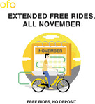 ofo - Unlimited Free Rides for the Entire Month of November [No Deposit Required]