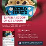 Scoop of Ice Cream for $2 at Ben & Jerry's: for Singtel Customers via Singtel Rewards App