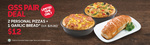 2 Personal Pizzas & Garlic Bread for $12 (U.P. $25.80) at Pizza Hut